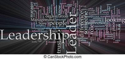 moln, ledarskap, ord, glödande