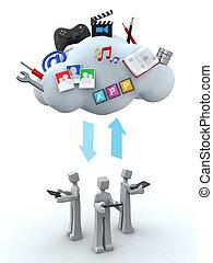 moln, teamwork, begrepp, servare