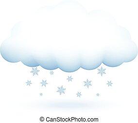 moln, vektor, snöflingor, illustration