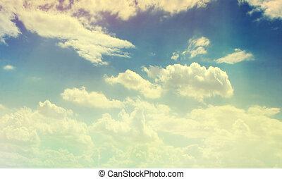 molnig, färg, sky