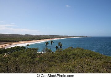 Molokai Hawaii Coast - A long sandy beach along the western...