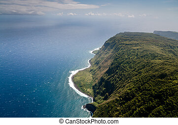 Molokai island coastline view from above