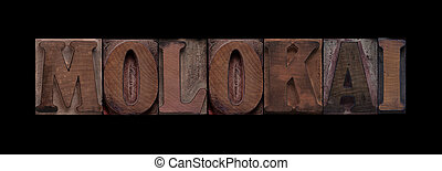 molokai, vieux, bois, type