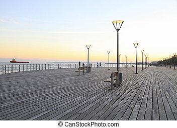 Molos Promenade on the coast of Limassol city, Cyprus.
