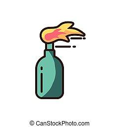molotov cocktail icon, colorful fill style