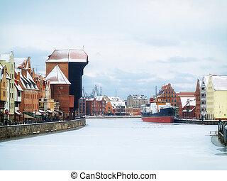 moltawa, rio, e, a, guindaste, em, gdansk, polônia