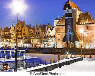 moltawa, rio, e, a, guindaste, gdansk, poland., inverno,...