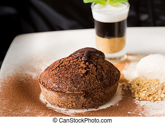 Molten chocolate cake with peanut butter shooter.