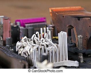molten heat sink on computer mainboard