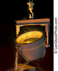 Molten metal - Illustration of molten metal being poured...