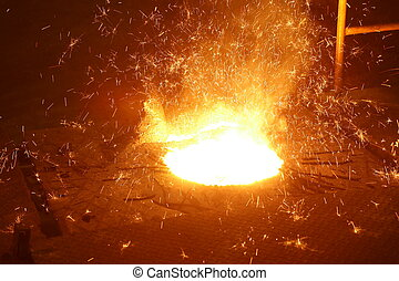 Molten metal in Induction Furnace for casting Iron...