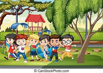 molti, bambini, parco