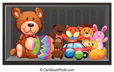 molti, bambole, e, palle, su, il, mensola