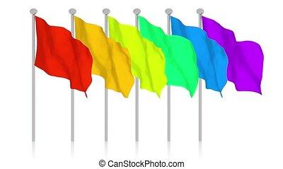 molti, colorito, bandiere
