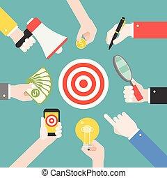 molti, differente, mani affari, con, differente, oggetti, tale, come, lightbulb, lente ingrandimento, megafono, strategia affari, per, raggiungimento, scopo