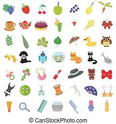 molti, differente, set, oggetti