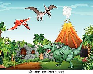 molti, dinosauri, in, il, campo