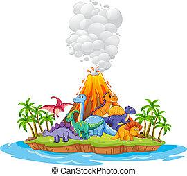 molti, dinosauro, in, il, isola