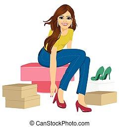 molti, donna, tentando, scarpe, moda