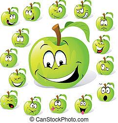 molti, espressioni, mela verde
