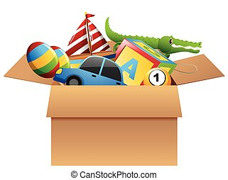 molti, giocattoli, in, scatola marrone