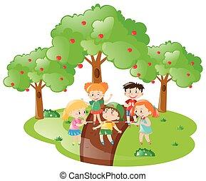 molti, gioco, bambini, giardino, gioco