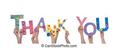 molti, lei, ringraziare, tenere mani