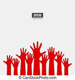 molti, mani elevate, vettore, manifesto