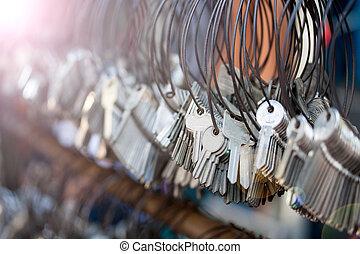 molti, mazzi, di, keychain