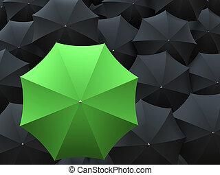molti, nero, verde, ombrelli, uno
