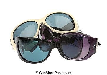 molti, occhiali da sole, isolato
