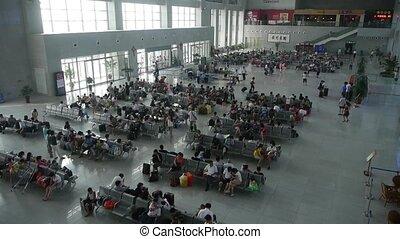 molti, persone, occupato, attesa, hall.