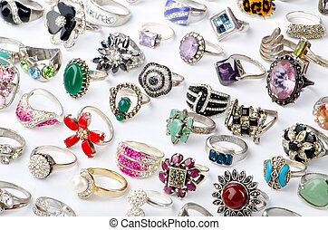 molti, prezioso, selezione, anelli