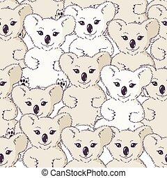 molti, seamless, fondo, koala