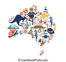 molti, symbols., australia, mappa, icone, vettore, illustrazione, disegno