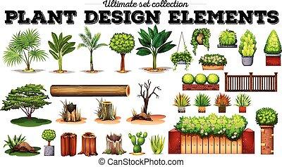molti, tipo, di, piante
