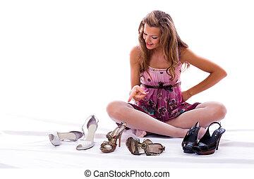 molto, difficultly., scarpe, scelta