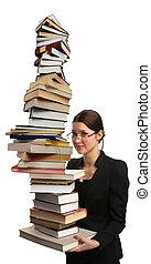 molto, grande, libri, mucchio, presa a terra, ragazza