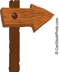 molto, legno, ruvido, segno freccia