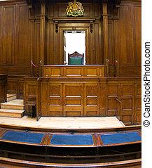 molto, vecchio, aula, (1854), con, giudici, sedia, a, st,...