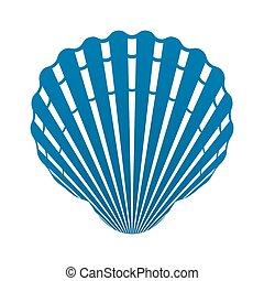 moluscos, concha marina, aislado, ilustración, señal, venera, vector, icono