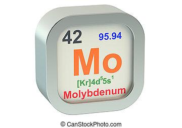 Molybdenum element symbol  isolated on white background