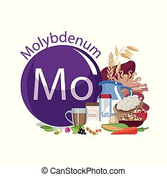 Molybdenum. Food sources. Natural organic products with a...