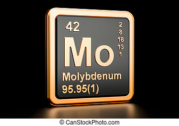 Molybdenum Mo chemical element. 3D rendering isolated on...