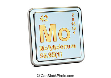 Molybdenum Mo, chemical element sign. 3D rendering -...