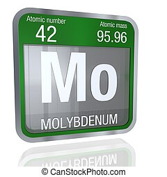 Molybdenum symbol in square shape with metallic border and...