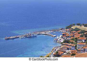 Molyvos or Mithymna Town and Harbour, Lesbos, Greece. - The...