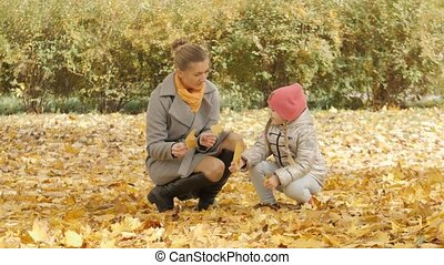 Mom and baby collect yellow leaves in the park