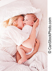 Mom and baby enjoy morning