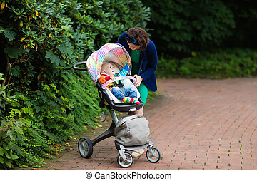 Mom and baby in a stroller